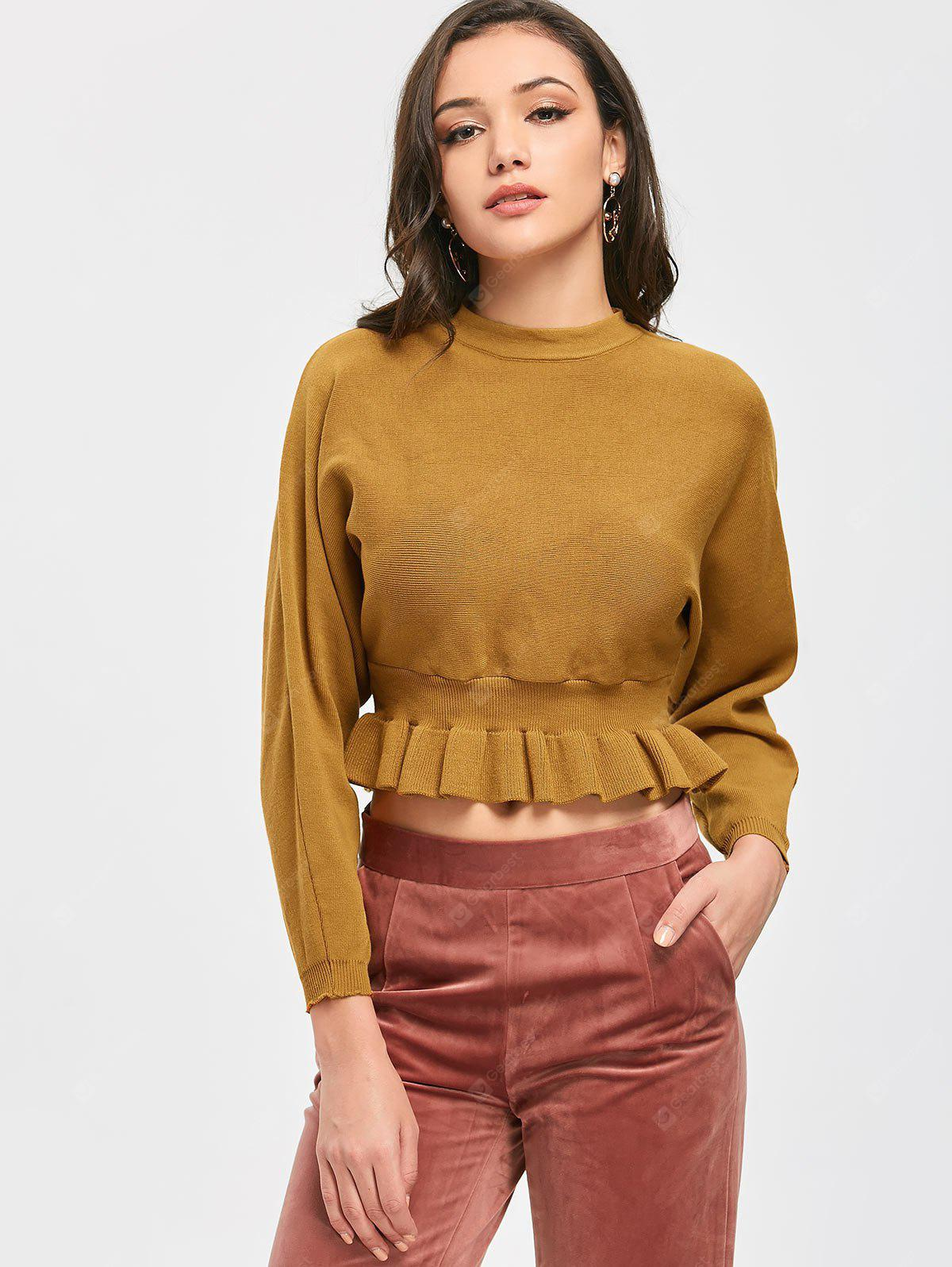 Ruffle Hem Crop Knit Top
