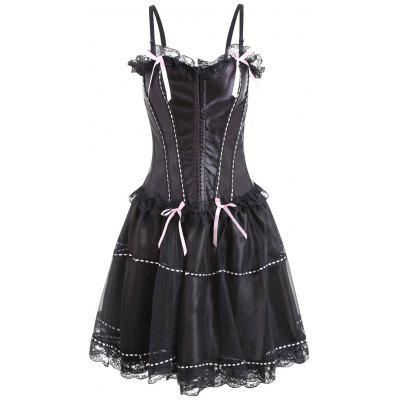 Lace Trim Flounce Two Piece Corset Dress