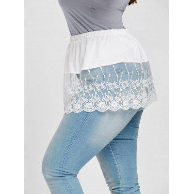 Buy WHITE 4XL Plus Size See Through Floral Lace Extender Skirt for $11.71 in GearBest store