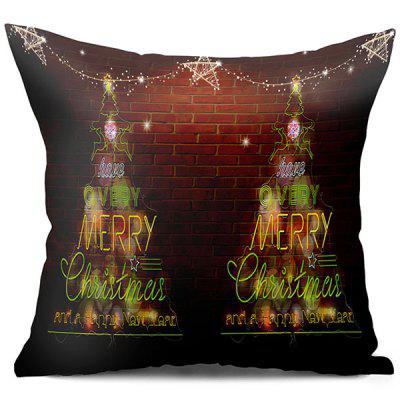Neon Christmas Tree Brick Wall Printed Throw Pillow Case