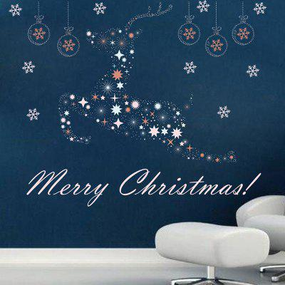 Buy Christmas Baubles Deer Wall Art Sticker For Living Room, COLORMIX, Home & Garden, Home Decors, Wall Art, Wall Stickers for $6.37 in GearBest store