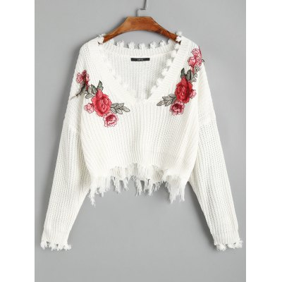 Buy WHITE Frayed V Neck Floral Embroidered Pullover Sweater for $22.04 in GearBest store