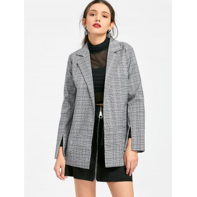 Checked Belted Lapel Blazer