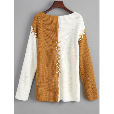 Two Tone Criss Cross V Neck SweaterSweaters &amp; Cardigans<br>Two Tone Criss Cross V Neck Sweater<br><br>Collar: V-Neck<br>Material: Acrylic, Cotton, Polyester<br>Package Contents: 1 x Sweater<br>Pattern Type: Patchwork<br>Sleeve Length: Full<br>Style: Fashion<br>Type: Pullovers<br>Weight: 0.5050kg