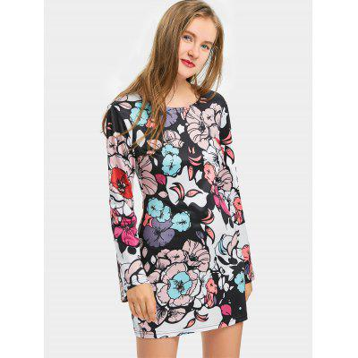Floral Back Cut Out Bodycon Mini Dress