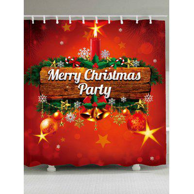 Christmas Candle Bell Printed Waterproof Shower Curtain