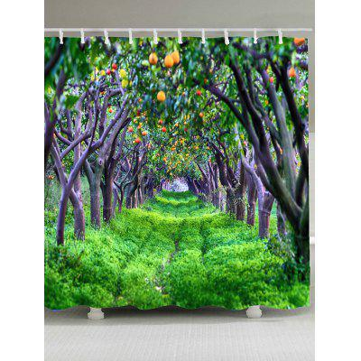 Green Orchards Pattern Waterproof Shower Curtain