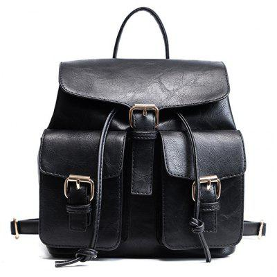 Buckle Straps PU Leather Backpack