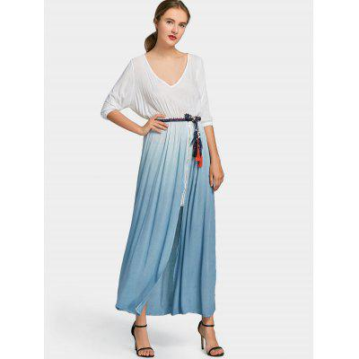 Buy BLUE L Front Zipper Belted Ombre Maxi Dress for $30.22 in GearBest store