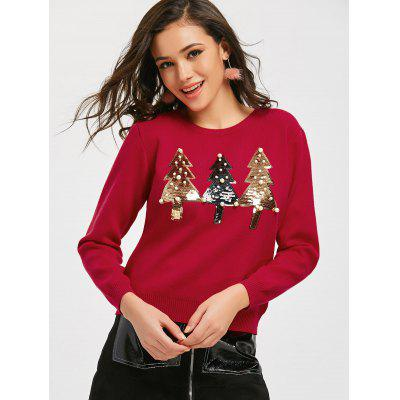 Beaded Sequined Trees Christmas Sweater
