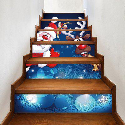 Christmas Santa Deer Pattern Decorative Stair Decals