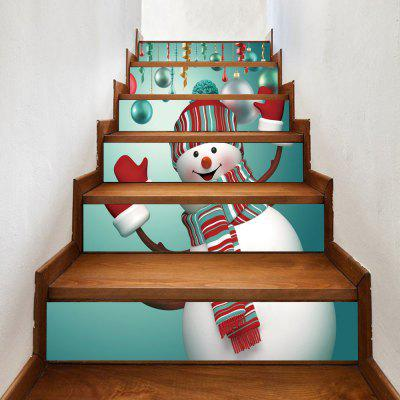 Christmas Snowman Baubles Pattern Decorative Stair Decals