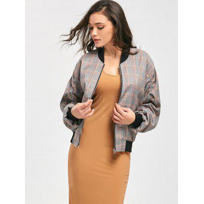 Ruched Sleeve Zippered Checked Jacket