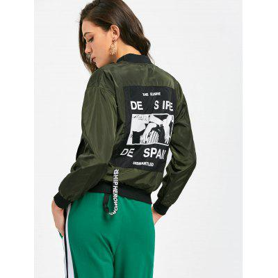 Graphic Back Zippered Bomber Jacket
