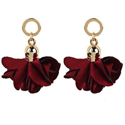 Vintage Fabric Flower Round Drop Earrings