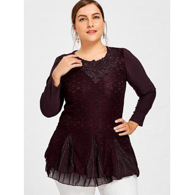 Plus Size Sequined Layered Lace BlousePlus Size Tops<br>Plus Size Sequined Layered Lace Blouse<br><br>Collar: Round Neck<br>Embellishment: Appliques,Lace,Sequined<br>Material: Polyester<br>Package Contents: 1 x Blouse<br>Pattern Type: Others<br>Season: Spring, Fall<br>Shirt Length: Long<br>Sleeve Length: Full<br>Style: Casual<br>Weight: 0.4100kg