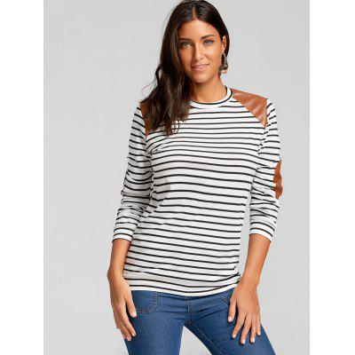 Elbow Patch Striped Long Sleeve TopBlouses<br>Elbow Patch Striped Long Sleeve Top<br><br>Collar: Round Neck<br>Material: Polyester<br>Package Contents: 1 x Top<br>Pattern Type: Striped<br>Season: Fall, Spring<br>Shirt Length: Regular<br>Sleeve Length: Full<br>Style: Casual<br>Weight: 0.3000kg