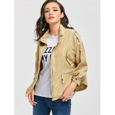 Drawstring Waist Zippered Jacket