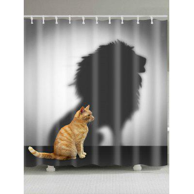 Lion Shadow And Cat Pattern Bathroom Shower Curtain