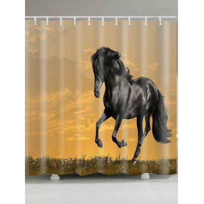 Sunset Running Horse Patterned Shower Curtain