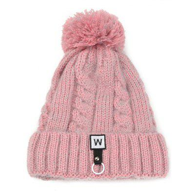 Letter W Embroidery Embellished Thicken Knitted Pom Beanie