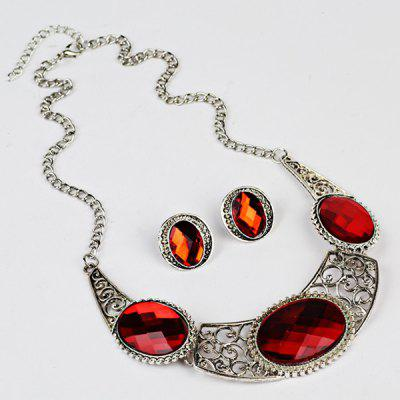Faux Gem Oval Necklace with Earring SetJewelry Sets<br>Faux Gem Oval Necklace with Earring Set<br><br>Gender: For Women<br>Length: 49CM (Necklace)/2.3CM (Earring)<br>Necklace Type: Link Chain<br>Package Contents: 1 x Necklace 1 x Earring (Pair)<br>Shape/Pattern: Geometric<br>Style: Classic<br>Weight: 0.0720kg