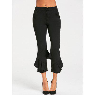 Zipper Flounce Capri Pants
