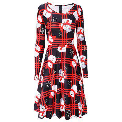 Christmas Long Sleeve Snowman Print Swing Dress