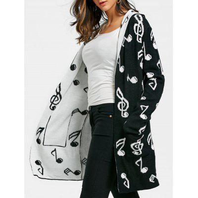 Music Note Jacquard Knitted Longline Cardigan