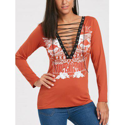 Long Sleeve Lace Up Plunging Neckline T-shirt