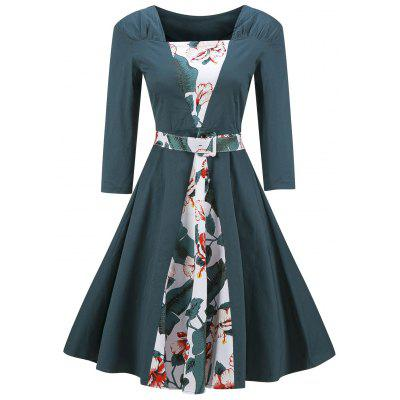 Vintage Floral Print Skater Fit and Flare Dress