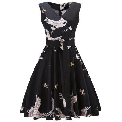 Vintage Crane Print Pin Up Skate Dress
