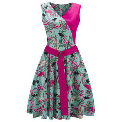 Vintage Color Block Crane Print Pin Up Dress