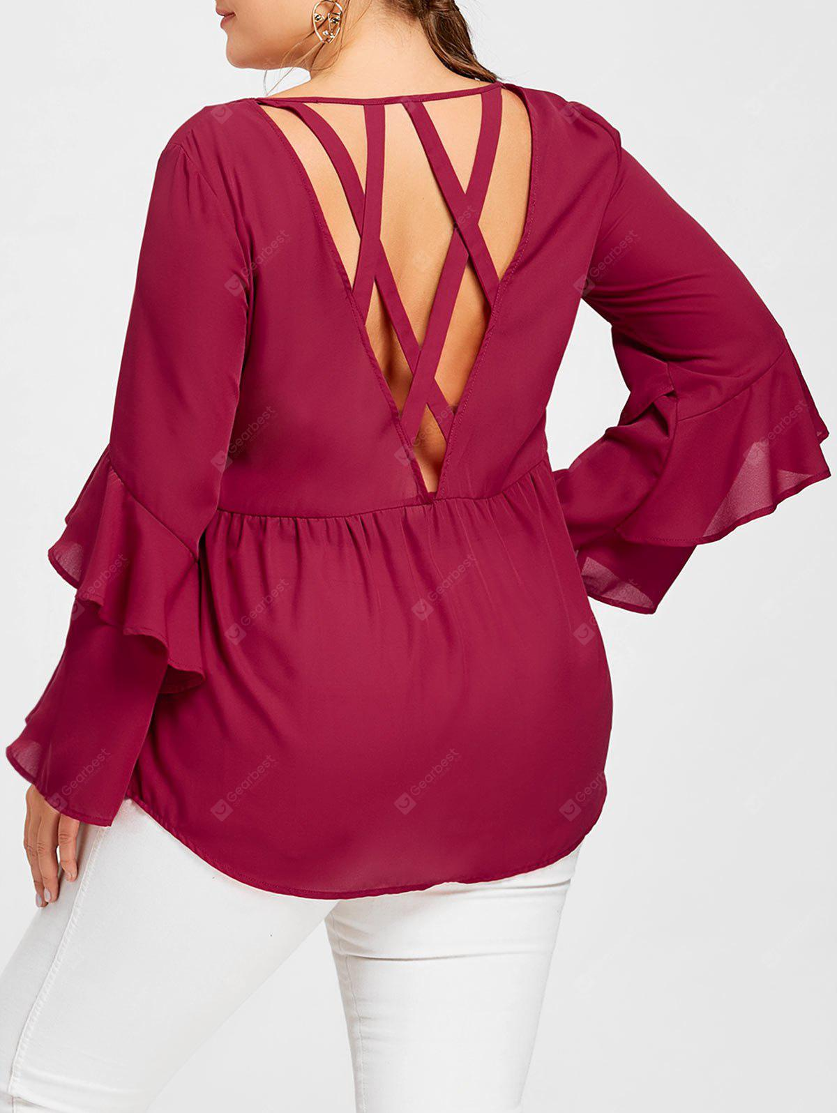 Plus Size Flounced Layered Sleeve Open Back Blouse