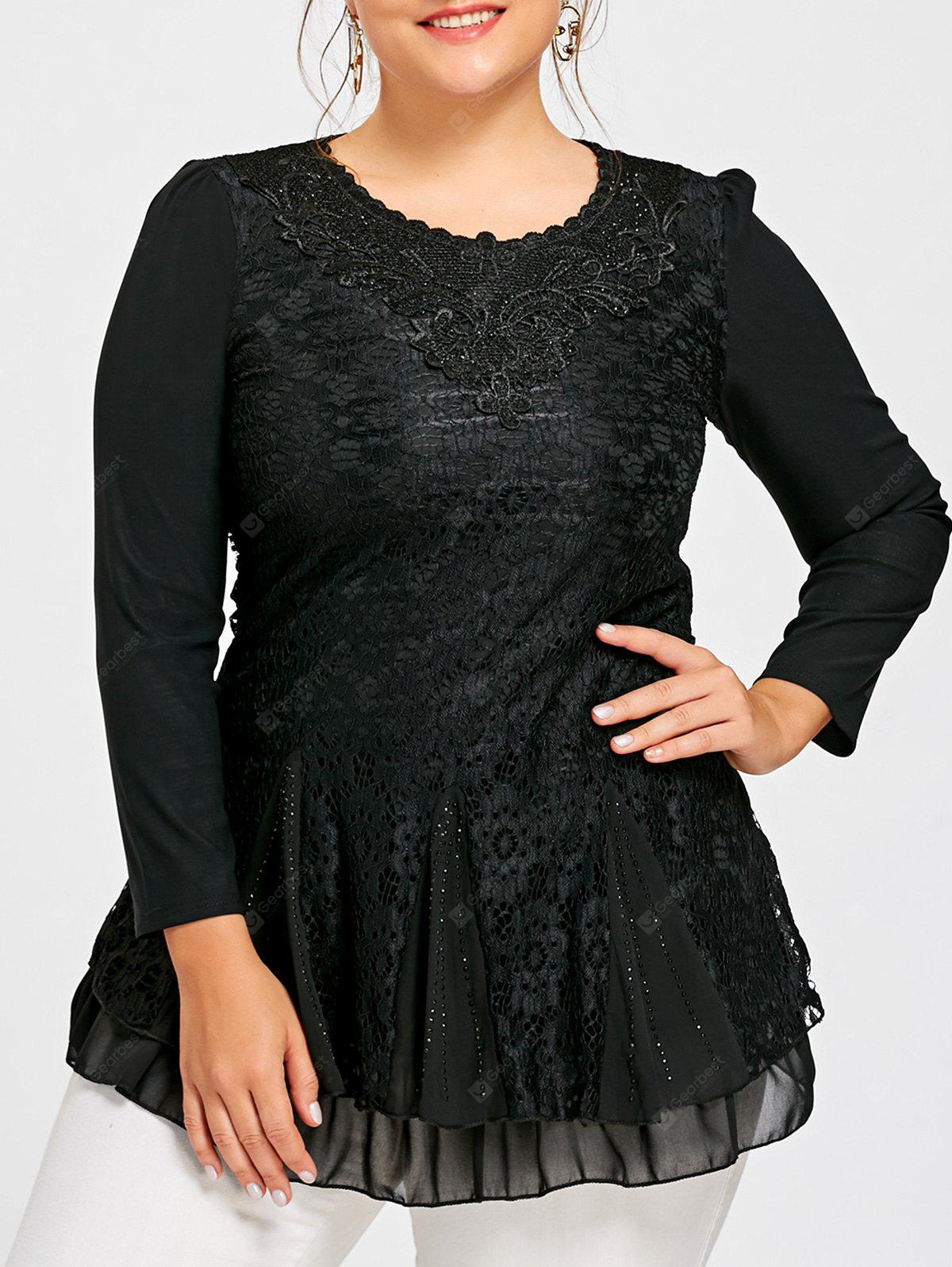 Plus Size Sequined Layered Lace Blouse