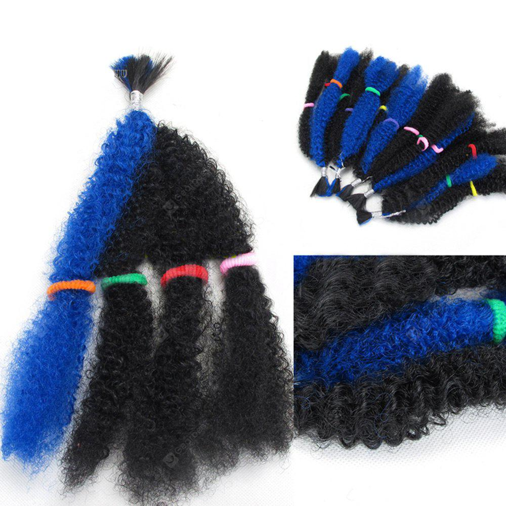 BLUE 5Pcs Long Shaggy Afro Curly Synthetic Hair Weaves