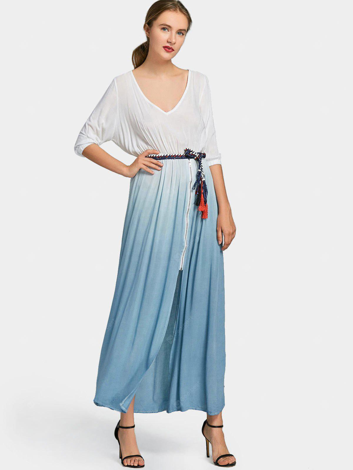 BLUE S Front Zipper Belted Ombre Maxi Dress