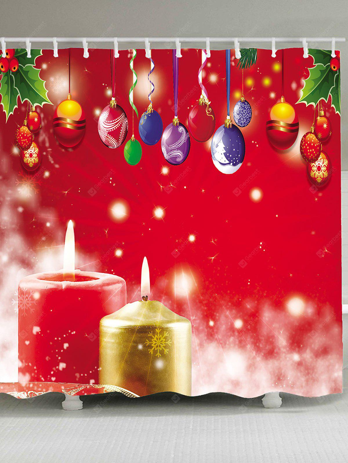 Christmas Candles and Colored Ball Pattern Waterproof ...