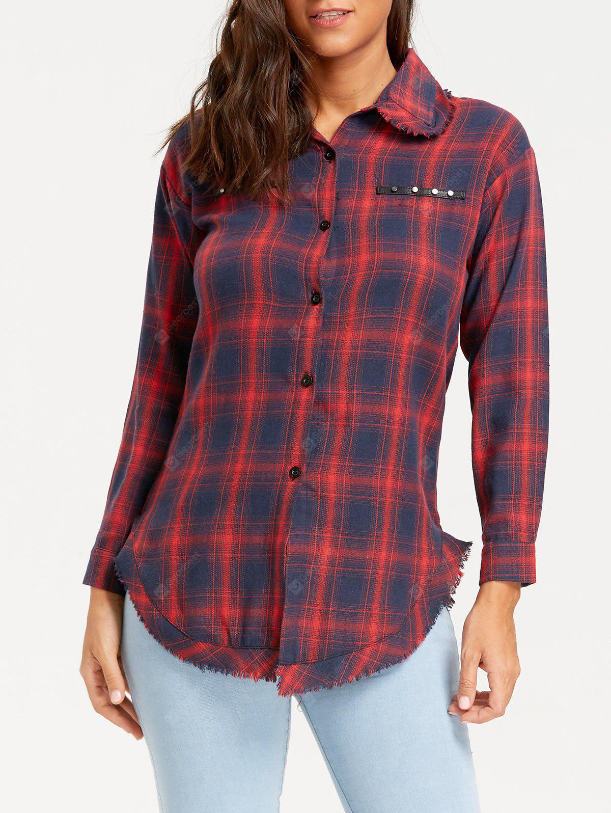 Plaid Frayed Rivet Embellished Shirt
