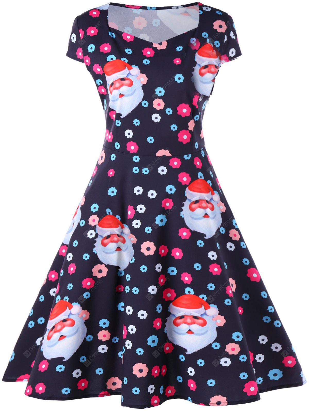 Christmas Santa and Flower Print Flare Dress