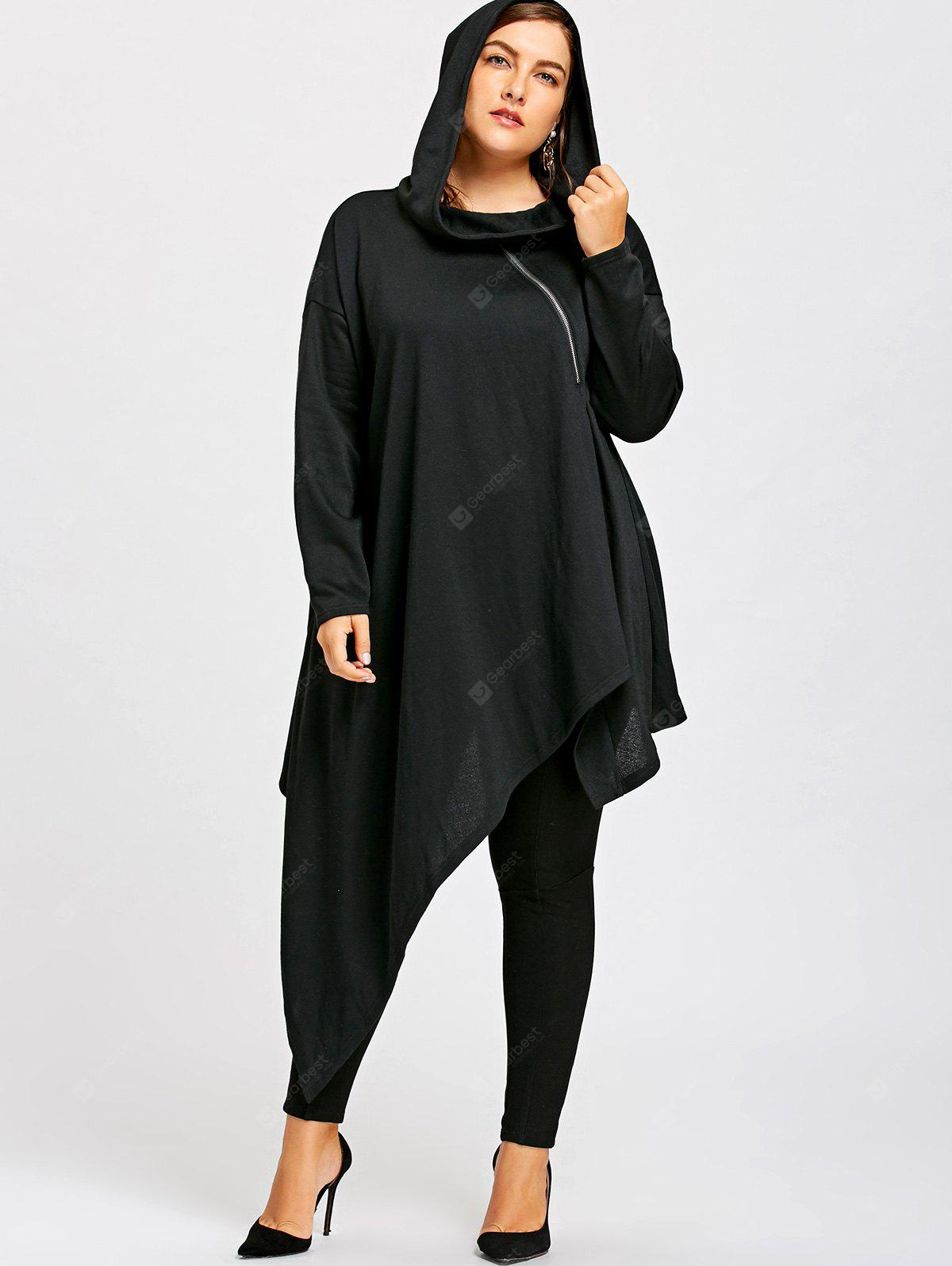 Plus Size Drop Shoulder Asymmetrical Tunic Hoodie