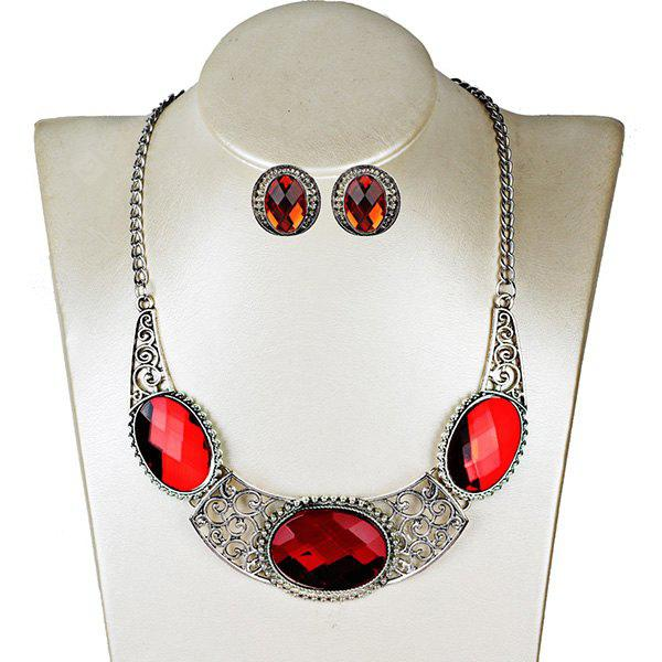 Faux Gem Oval Necklace with Earring Set