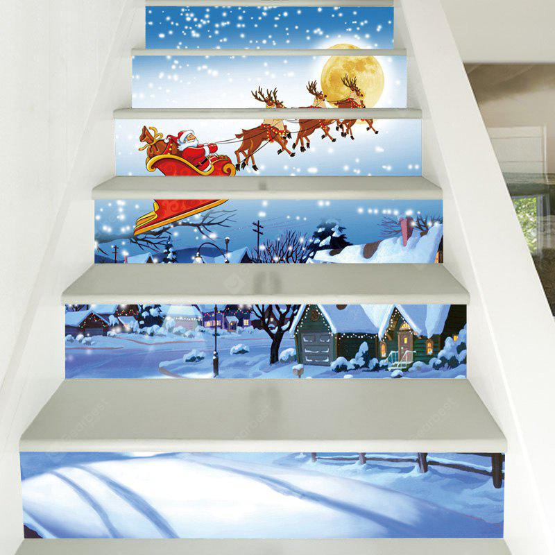 Christmas Snowy Night Santa Pattern Decorative Stair Decals