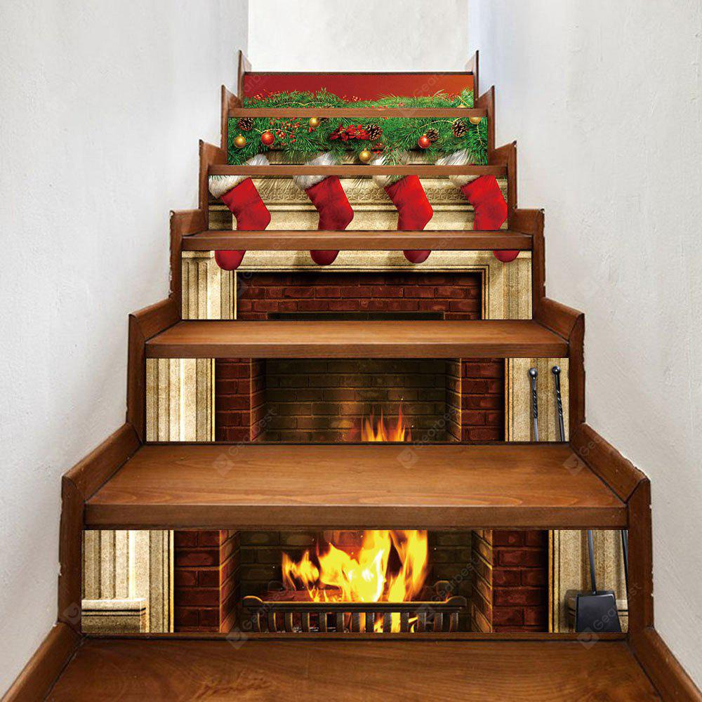 Christmas Fireplace Stockings Pattern Decorative Stair Decals