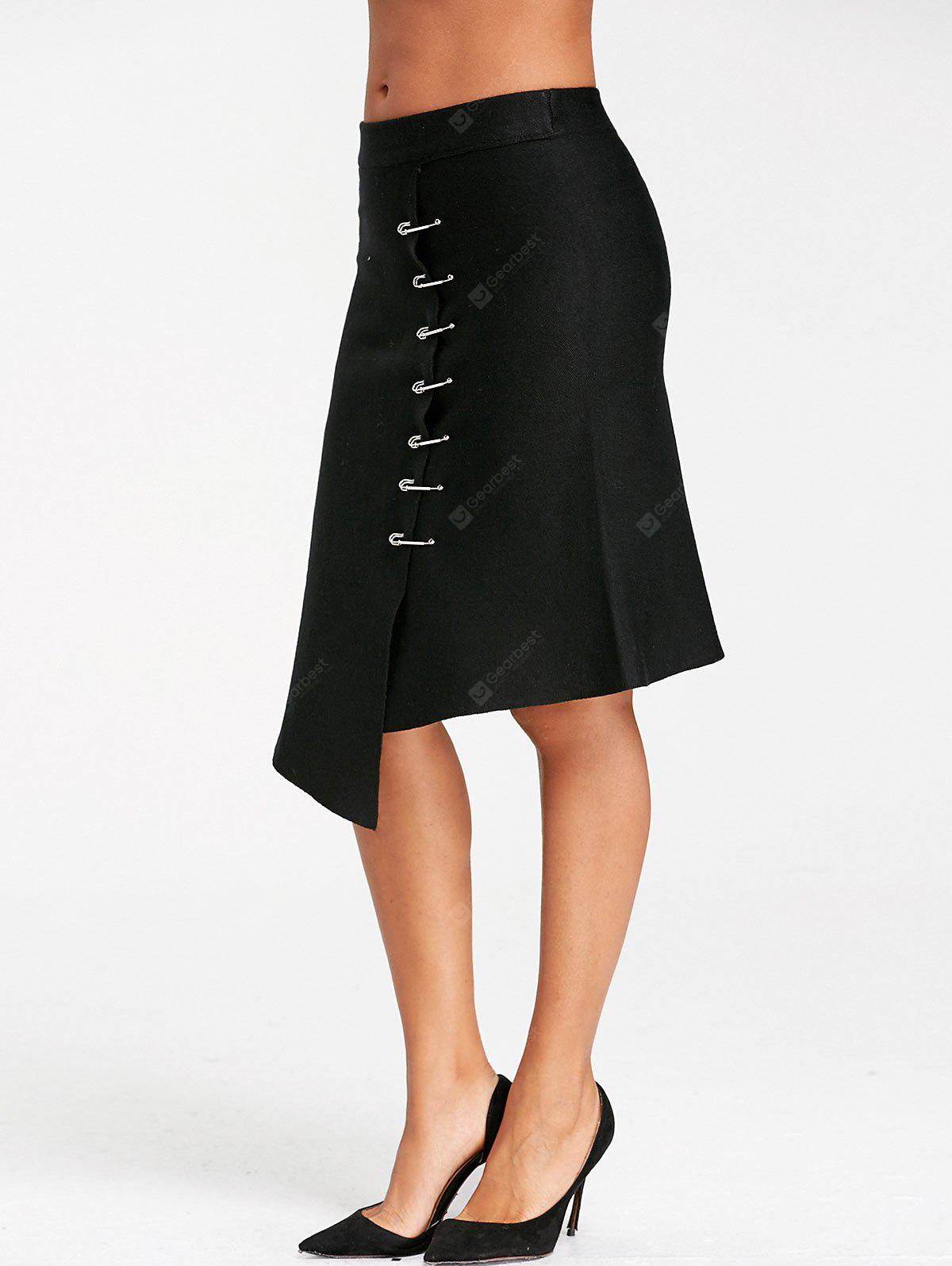 Paper Clip Embellished Asymmetrical Knitted Skirt