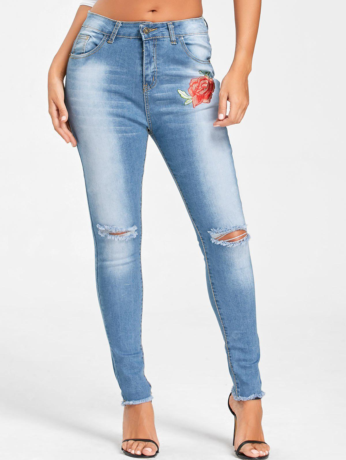 Embroidery Frayed Hem Knee Ripped Jeans