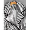Striped Waist Tied Coat - WHITE AND BLACK