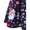Christmas Santa and Flower Print Flare Dress - BLACK