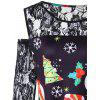 Plus Size Christmas Print Lace Panel Dress - BLACK