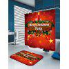 Christmas Candle Bell Printed Waterproof Shower Curtain - RED